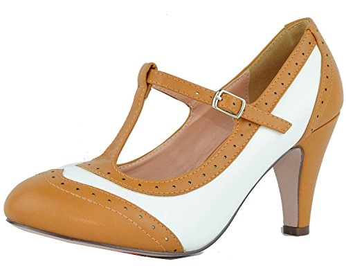 Chase & Chloe Women's T-Strap Oxford Mary Jane Pump (6 B(M) US, Tan/White)