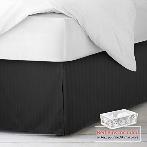 "Nestl Bedding Pleated Bed Skirt - Damask Dobby Stripe Bed Skirt - Luxury Microfiber Dust Ruffle - 14"" Tailored Drop - Bonus Bed Skirt Pins Set of 8 Included - Queen, Black"