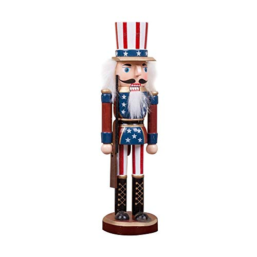 Melo-bell Uncle Sam Nutcracker Comes with American Flag Traditional Patriotic Christmas Decorative Nutcracker 100 Wood 25CM Tall ()