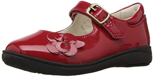 (Stride Rite Ava Girl's Patent Leather Lightweight Mary Jane Flat, red, 1 M US Little Kid)
