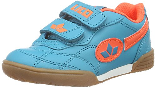 Lico Unisex-Kinder Bernie V Hallenschuhe, Blau (Petrol/Orange), 25 EU