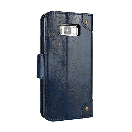 Samsung Galaxy S8+ (S8 Plus) Lederhülle Retro, Docrax Hülle Leder Klappbar Brieftasche Schutzhülle mit Kartenfach Magnetisch Stoßfest Handyhülle Flip Case für Samsung Galaxy S8+ (S8Plus) / G955 - DOHH Blau