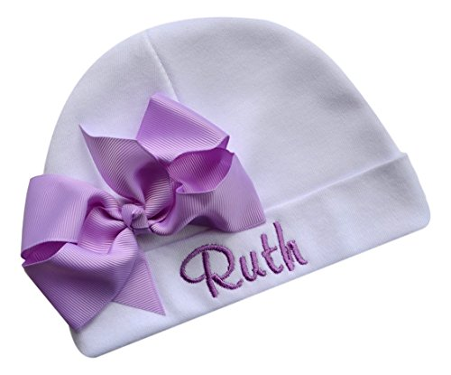 - Personalized Embroidered Baby Girl Hat with Grosgrain Bow with Custom Name (White Hat/Lavender Bow)