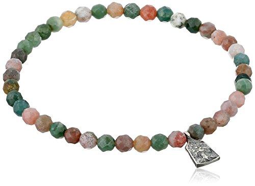 Satya Jewelry Fancy Jasper Sterling Silver Mini Tree of Life Stretch Bracelet