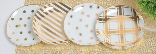 8 Oak Lane White Gold Polka Dot Stripes Appetizer Plates (set/4) EH023GLD