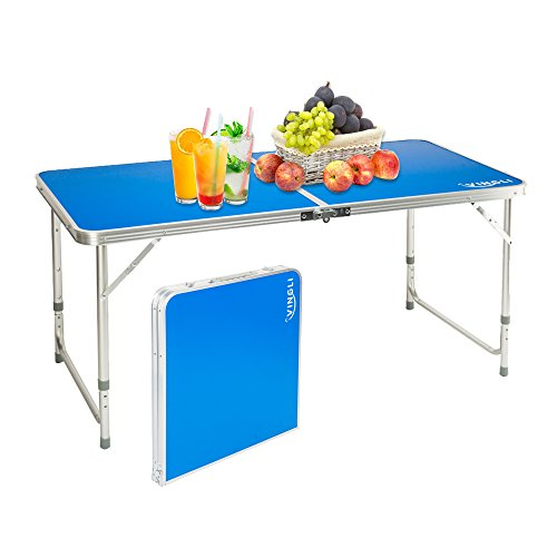 VINGLI 4 Feet Folding Camping Picnic Table Lightweight, Portable Height Adjustable Multipurpose Dining Utility Table 47.2 L x 23.6 W for BBQ Indoor Outdoor
