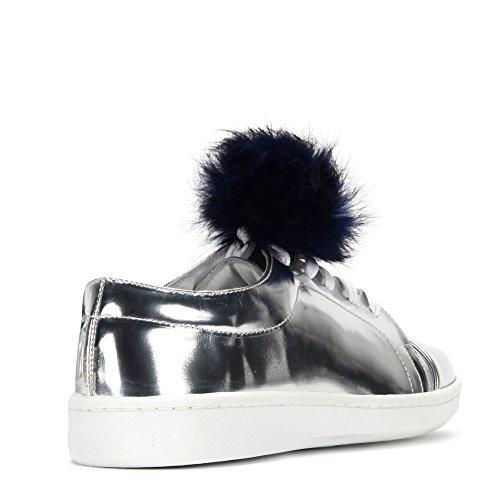 Sneakers 35 Miista Pom Women's SZ Adalynn Silver Blue Pom Fashion Pom w1aIq