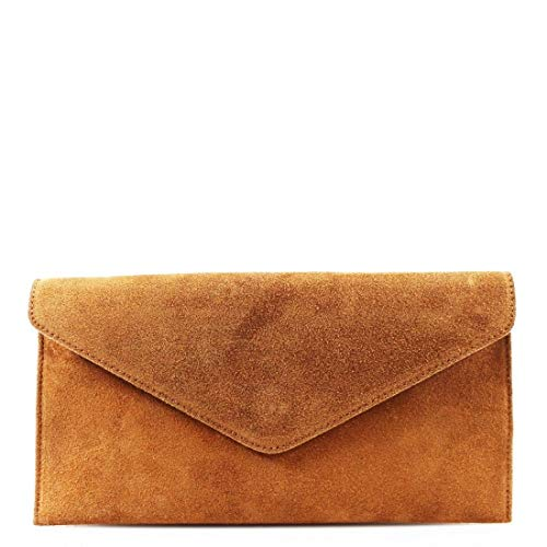 Womens Ladies Real Suede Leather Envelope Clutch Evening Shoulder Chain Bag (Camel)