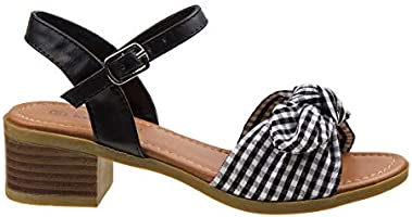 3cbfd752ff0 Kensie Girl Gingham Bow Sandals with Easy Elastic Buckle and Rugged ...