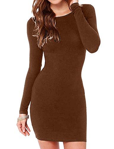 Haola Women's Sexy Casual Long Sleeve Short Dress Mini Dress M DarkCoffee
