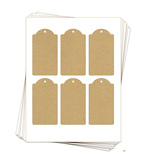 - 60 Printable Kraft Cardstock Domed Rectangle Hang Tags with Holes, 2.375 x 4.25 Inches, Two-Sided ...