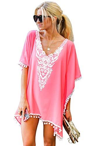 Chalier Womens Chiffon Tassel Beachwear Stylish Swimsuit Cover up, One Size, D-pink