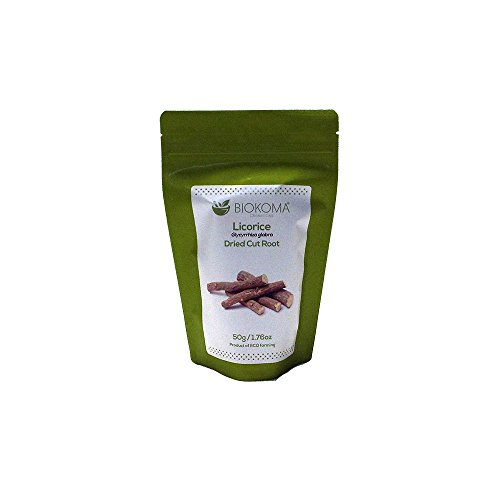 100% Pure and Natural Biokoma Licorice Dried Cut Root 50g (1.76oz) in Resealable Moisture Proof Pouch ()