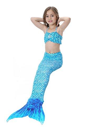 sophiashopping Girl's 3pcs Mermaid Tail Swimmable Princess Bikini Set (Cheap Mermaid Tails)