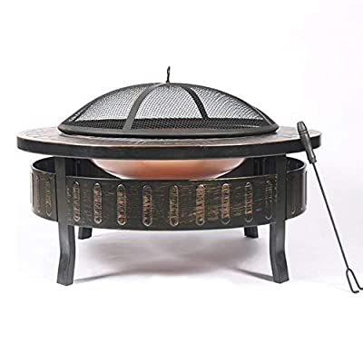 HLWAWA Outdoor Large Bonfire BBQ Table Grill with Spark Screen