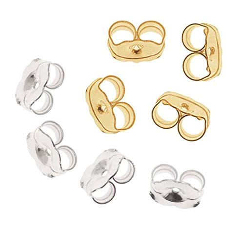 Cutedoumiao Fashion Jewelry 14K Gold/White Gold Earring Backs 8 Pieces Replacement Earring Backs ()