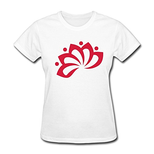 WSB Women's T Shirts Fashion Lotus Flower C Symbol Customlized Tees White Size L (Elf On The Shelf On The Toilet)