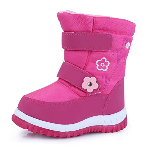 CIOR Fantiny Toddler Winter Snow Boots for Boy and Girl Outdoor Waterproof with Fur Lined Little Kids U118WXZ012,Pink,25