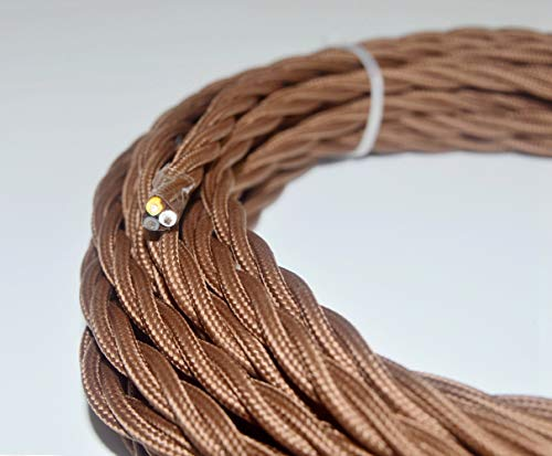 25 feet Brown Twisted Cloth Covered Wire,3-Conductor 18-Gauge Antique Industrial Fabric Electrical Cord Cable,Vintage Style Lamp Cord strands (Wire Antique Rayon)