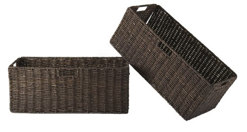 Winsome Granville Foldable Large Corn Husk Basket, Chocolate, 2-Piece