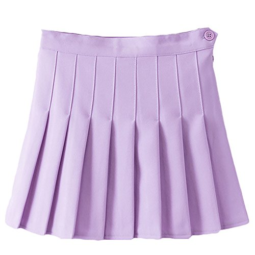 (Women Gym High Waist Underpants Cheerleader Pleated Mini Tennis Shorts Skater Flared Skirt with Lining Lavender L)