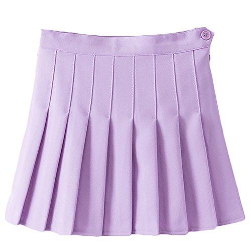 Pleated Tennis Skirt - IWEMEK Women Girls Sports High Waist Flared Skater Mini Tennis Skirt School Uniforms Cosplay Pleated Short Skorts