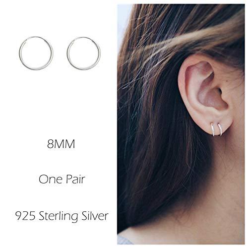 Sterling Silver Hoop Earrings Cartilage Piercing Earring Small Round Set For Women Men ()