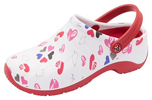 Anywear Women's Zone Health Care Professional Shoe, Multi Heart/White/red, 10.0 Medium US ()