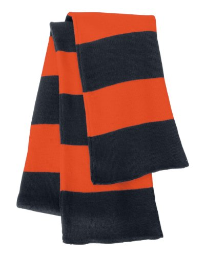 Rugby Stiped Knit Scarf, Color: Navy/ Orange, Size: One Size (Womens Navy Rugby)