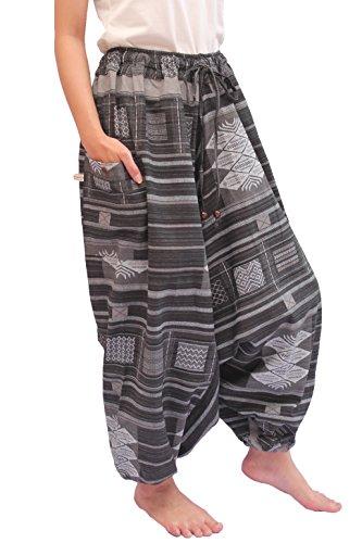 Wynnthaishop'100% Cotton Baggy Boho Aladin Yoga Harem Pants (L-XXL for Waist for 34