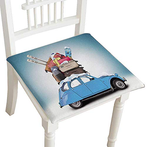 Indoor/Outdoor All Weather Chair Pads Yellow car with a roof Rack Full of Luggage Seat Cushions Garden Patio Home Chair Cushions 28
