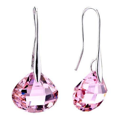 - Pugster Rose Pink Shell Swarovski Crystal Drop Earrings