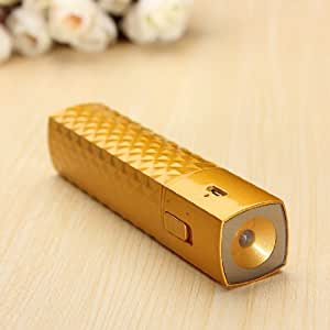 Golden 2600mAh External Backup Portable Battery Power Bank Pack Charger with LED Flashlight for iPhones iPods and Android Phones
