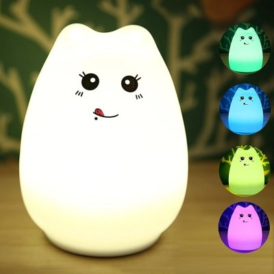 Ge Portable Book Light - Silicone LED Night Light Portable Cute Cat Night Lamp for Kids Baby Bedroom 7-Color