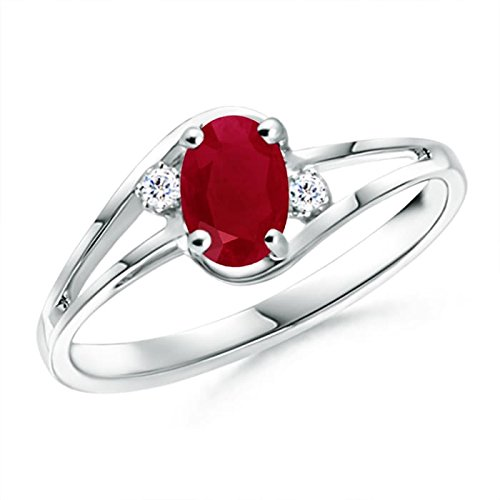 Ruby and Diamond Split Shank Ring in 14K White Gold (6x4mm Ruby)