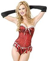 Charades Mrs Santa Taffeta File Corset Costume