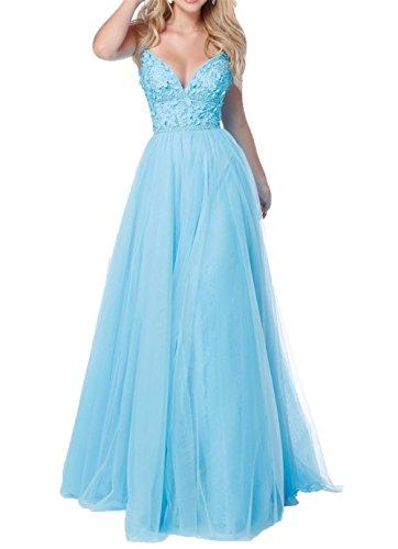 A Abendkleider Tuell Charmant Abschlussballkleider Damen Abiballkleider Spitze Lang Rosa Spaghetti Blau Promkleider Traeger Linie BwxSqYwP4