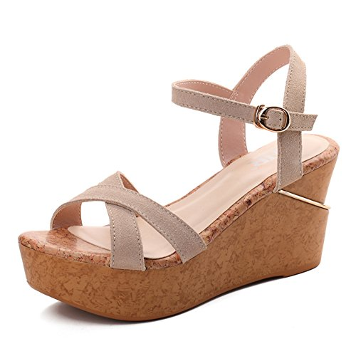 Summer Leather And Thick Soles For Ladies Sandals,Leisure Shoes,High Heel Platform Sandals,Wedges C