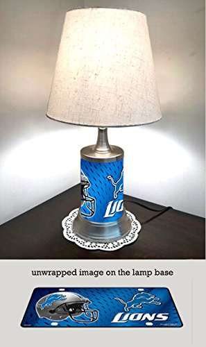 - IS Table Lamp with Shade, Detroit Lions Plate Rolled in on The lamp Base
