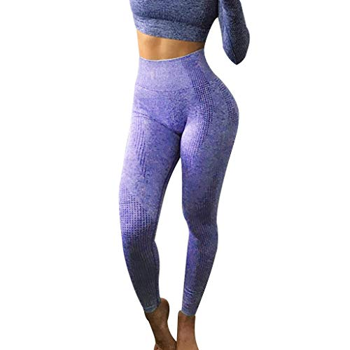 iHPH7 Pants Women High Waisted Athletic Workout Pants Hip Seamless Jacquard Point High Waist Speed Dry Pants Fitness Yoga Pants S Purple -
