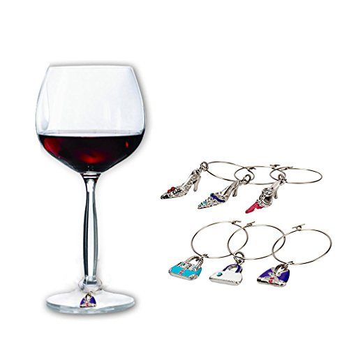 Wine Glass Charms Set Wine Glass Markers Wine Charm Glass Marker Gifts Sweet Love Wine Charms for Glasses Women Gift (Shoes Purse)