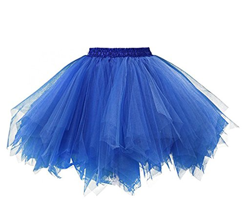 Kileyi Womens Tutu Costume Adult Party Dance Tulle Skirt Short Fluffy Petticoat Royal Blue L ()