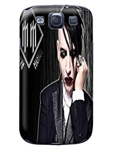 Air cushioned bumper tpu case with scratch resistant clear back panel for Samsung Galaxy s3 of Marilyn Manson in Fashion E-Mall