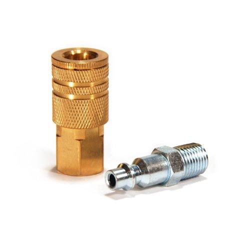 Primefit IK1001-2 1/4-Inch Industrial Brass Coupler Set with Male Plug, (Female Npt Quick Disconnect)