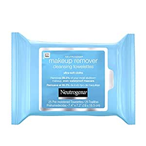 Neutrogena Makeup Remover Facial Cleansing Towelettes, Daily Face Wipes to Remove Dirt, Oil, Makeup & Waterproof Mascara, Gentle, Alcohol-Free, 25 ct
