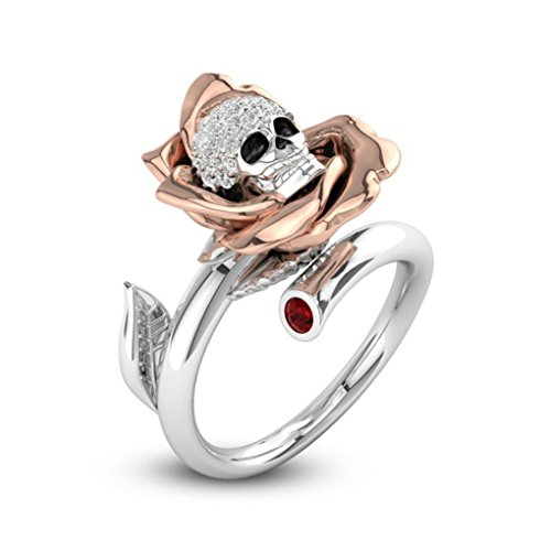 WILLTOO Clearance Jewelry Skull Heads Valentine Gift Kull Diamond Ring (Multicolor, US (18k Date Ring)