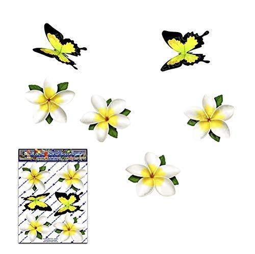 Pegatinas de coches de flor blanca individuales Frangipani Plumeria - ST00041WT_SML - JAS Stickers
