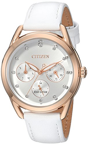 Citizen Women's 'Drive' Quartz Stainless Steel and Leather Casual Watch, Color:White (Model: - White Womens Watch Gold