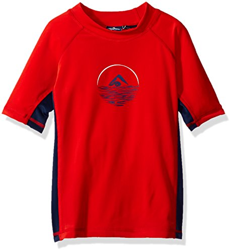 Kanu Surf Big Boys' Impact Upf 50+ Sun Protective Rashguard, Red, Large (12)