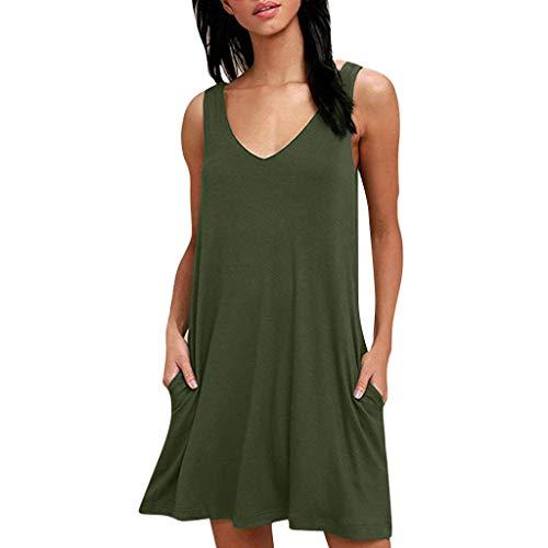 Qingell Women Summer Sleeveless Loose Plain Dresses Casual T Shirt Short Dresses Beach Cover up Plain Tank Dress (Leg Avenue Ruffled Skirt)